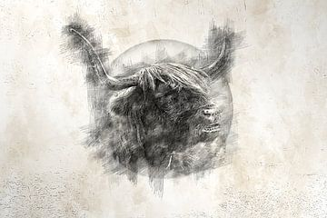 Schotse hooglander (tekening) van Art by Jeronimo