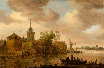 Flussblick mit Kirche und Bauernhof, Jan van Goyen