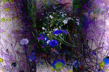 Bloemenweide Wilde bloemen Abstracte fotocollage van Patricia Piotrak