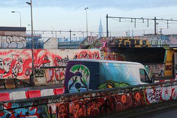 Delft, spoorviaduct, Prinses Irenetunnel, graffiti, Nieuwe Kerk van Anita Bastienne van den Berg