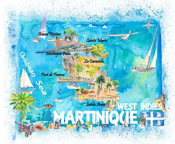 Martinique Antillen Illustrierte Karibik Reisekarte mit Highlights der Westindischen Inseln Traum von Markus Bleichner