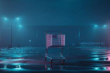 Verlicht winkelwagentje op verlaten mistig parkeerterrein van Besa Art