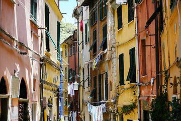 Porto Venere in Italië, typische smalle oude stadsstraat met kleurrijke huizen en waslijnen, geselec van Maren Winter