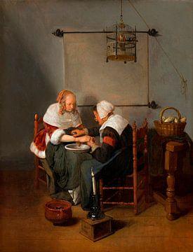 Eine alte Frau, die eine junge Frau ausbluten lässt, bekannt als 'Der Aderlass', Quiringh van Brekel