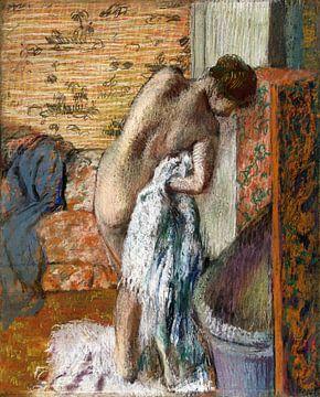 Na het bad (Vrouw droogt zichzelf af) , Edgar Degas (ca. 1886) van Atelier Liesjes