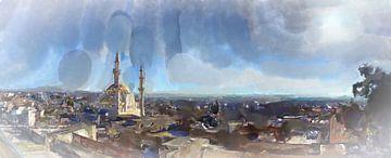 Panorama van Madaba met de moskee van Frank Heinz
