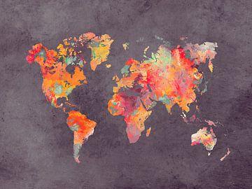 Weltkarte braun rot orange #Karte #Weltkarte von JBJart Justyna Jaszke