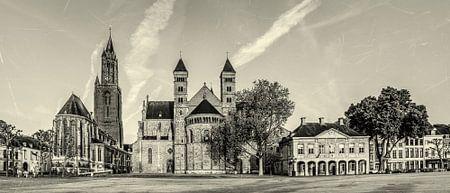 Vriethof - Mestreech, Vrijthof - Maastricht - Vintage - zwart wit look