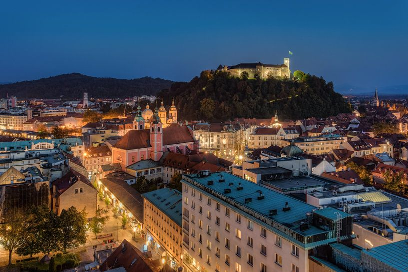 Ljubljana in the evening van Michael Valjak