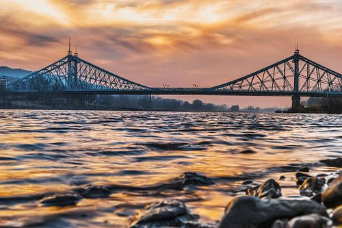 "Elbe Bridge ""Blue Wonder"", Dresden"