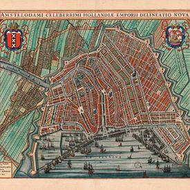 Amsterdam Oude Kaart Plattegrond  van Amsterdam 1652 Stadsgezicht Amsterdam Stadsplattegrond van Schilderijen Nu