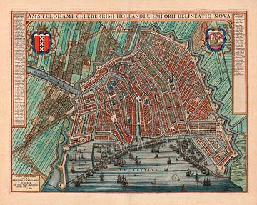 Amsterdam Oude Kaart Plattegrond  van Amsterdam 1652 Stadsgezicht Amsterdam Stadsplattegrond