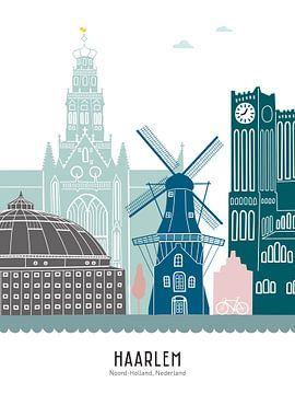 Skyline illustratie stad Haarlem in kleur van Mevrouw Emmer