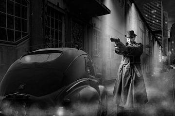 Gangster met klassieke auto in zwart wit van Bert-Jan de Wagenaar