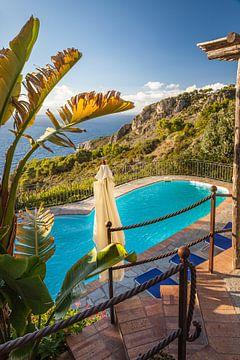 Zwembad met uitzicht op zee van Capri van Christian Müringer