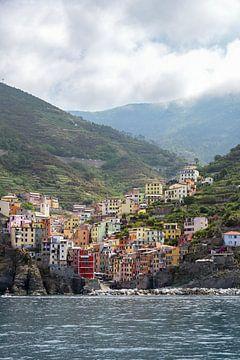 Cinque Terre, Riomaggiore, een oud dorp met kleurrijke huizen in de bergen aan de Middellandse Zeeku van Maren Winter