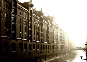 Geheugen stad in de vroege ochtend van
