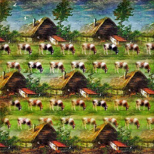 Digitaal foto-schilderij van koeien in de wei
