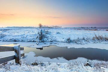 Winterlandschap bij Lieveren in Drenthe van Bas Meelker