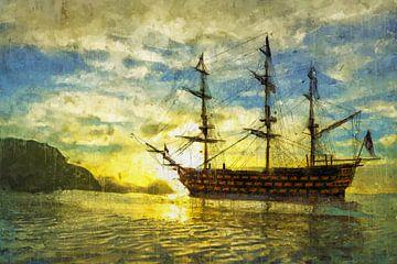 HMS Victory bei Sonnenuntergang