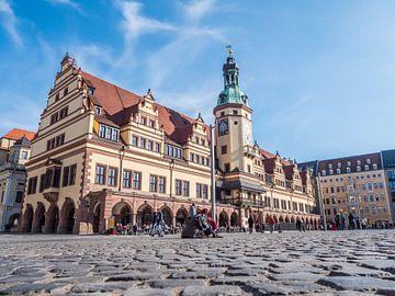 Stadhuisplein met stadhuis in Leipzig van Animaflora PicsStock