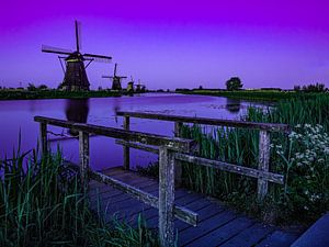 Die blaue Stunde in Kinderdijk von Jan Enthoven Fotografie