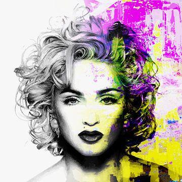 Madonna Vogue Abstrakt Porträt Gelb Rosa von Art By Dominic