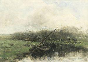 Roeiboot in een sloot, Willem Maris
