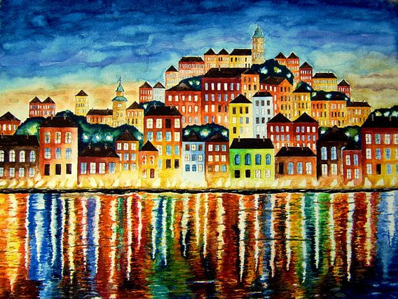 Gekleurd Haven bij nacht aquarel