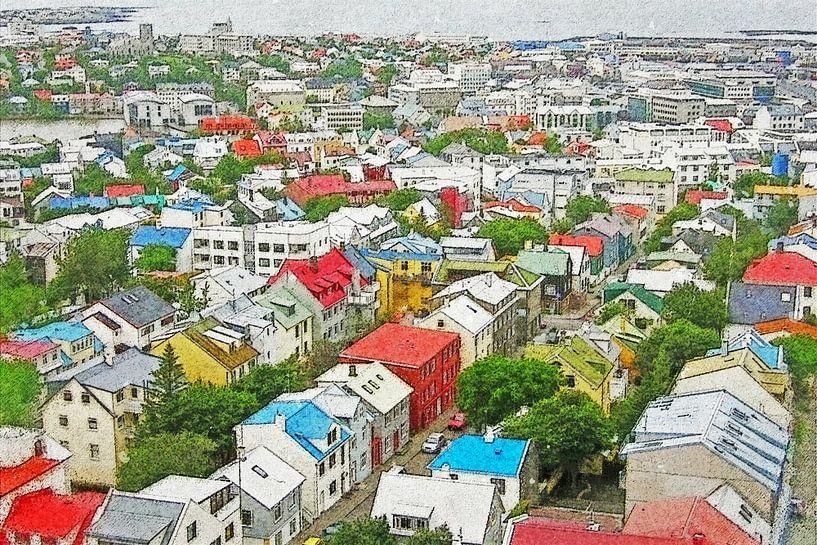 Downtown Reykjavik, IJsland van Frans Blok