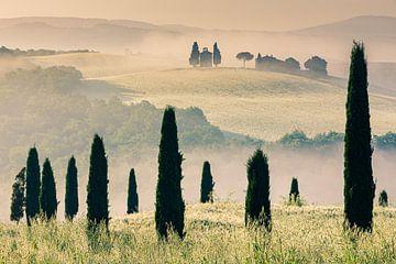 Ochtendlicht bij de Vitaleta kapel, Toscane, Italië van Henk Meijer Photography