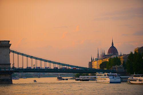 BudaPest brug over Donau van Brian Morgan