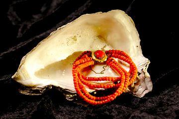 Blutkorallen-Halskette in Austernschale von Evert Jan Looise