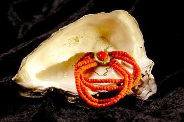 Bloedkoralen halsketting  in oesterschelp van Evert Jan Looise