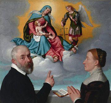 Zwei Spender in der Anbetung vor der Madonna mit dem Kind und dem hl. Michael, Giovanni Battista Mor