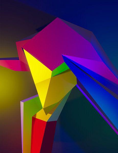 Dansend kubistisch vrouwelijk 3d model in dance club van Pat Bloom - Moderne 3D, abstracte kubistische en futurisme kunst