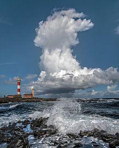 De vuurtoren van El Toston op Fuerteventura, Canarische Eilanden, Spanje.