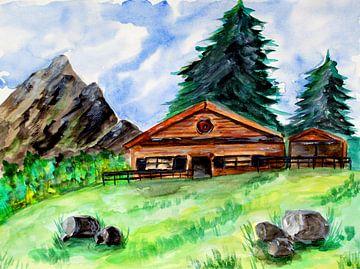 Alte Holzhütte in den Bergen von ZeichenbloQ