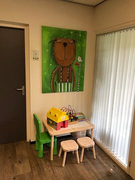 Klantfoto: Mr. Bear houdt Muziek - Schilderij voor Kinderen van Atelier BuntePunkt