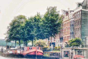Amsterdam Kanal Häuser und Boote von Shirley Douwstra