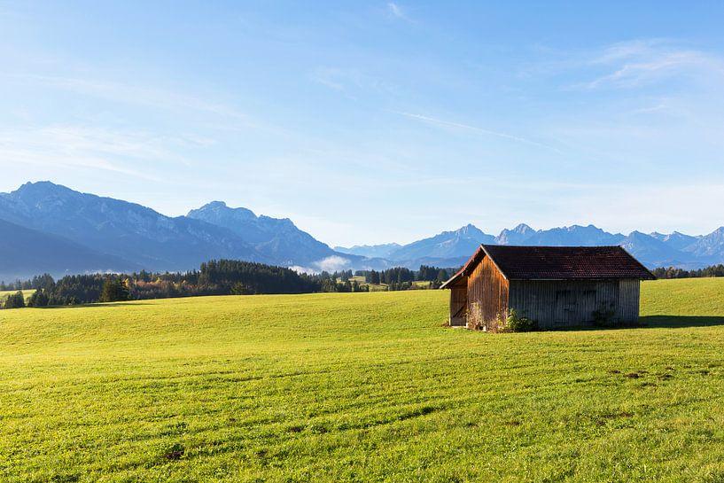 Berghut op een weide in Allgäu van Frank Herrmann