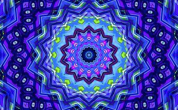 Blue Star 2 (Blauwe Retro Ster) van Caroline Lichthart