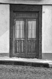 Oude houten huis deur van
