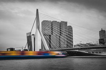 Erasmus-Brücke in Rotterdam - Skyline (schwarz und weiß) von Jesper Stegers