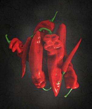 Paprika's & pepers op zwart van Miranda van Hulst