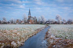 Vergezicht van de stad IJlst tijdens de winter van 2017. Wout Kok One2expose Photography.