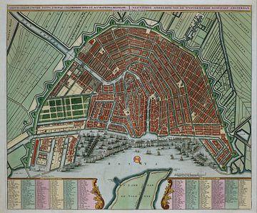 Alte Karte Karte von Amsterdam 1725