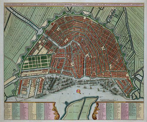 Amsterdam Oude kaart Plattegrond van Amsterdam  1725 van Schilderijen Nu