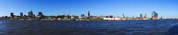 Hamburg Skyline Panorama an der Elbe von Frank Herrmann