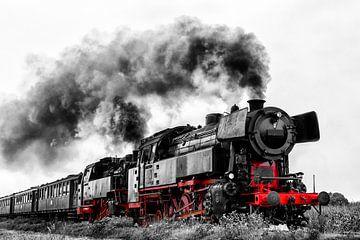 Dampflok fährt auf dem Land von Sjoerd van der Wal